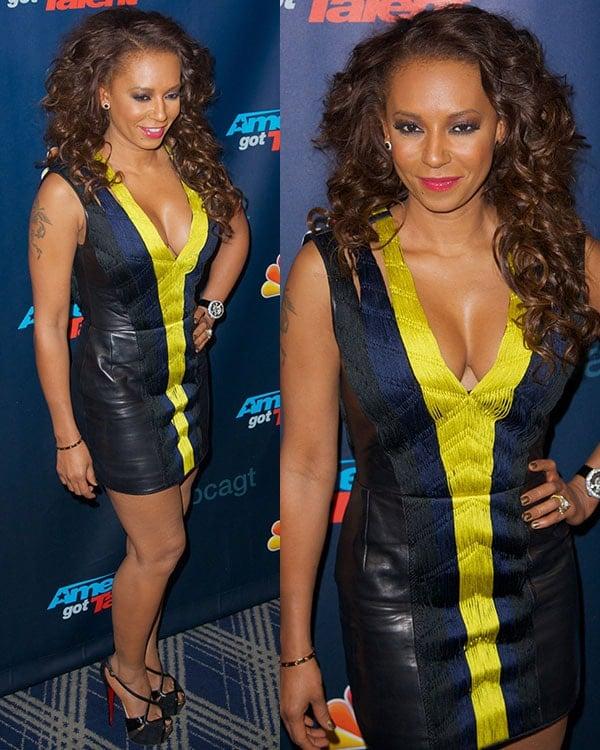 Mel B wearing a cleavage-baring Barbara Bui mini dress