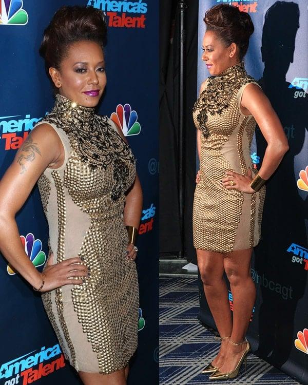 Mel B's cute, quiffed updo at America's Got Talent Season 8 red carpet event