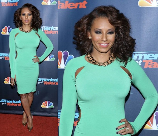 Mel B showing off her curves in a form-fitted dress
