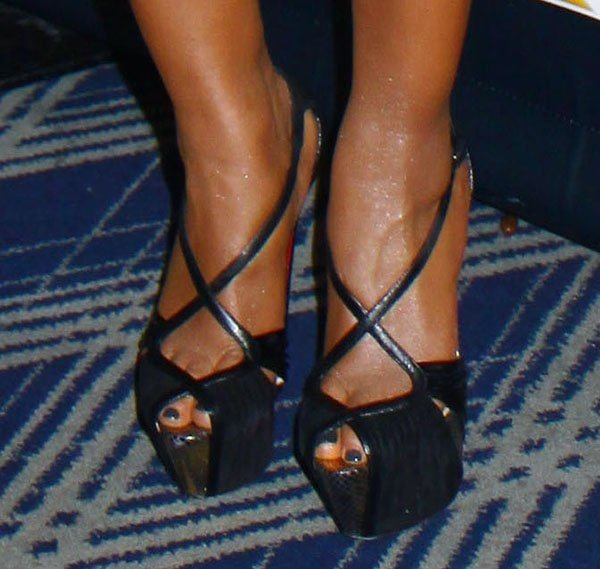 Mel B wearing 'Divinoche' sandals from Christian Louboutin's Fall 2012 collection