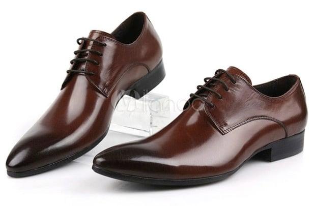 Milanoo Brown-Gradient Dress Shoes for Men