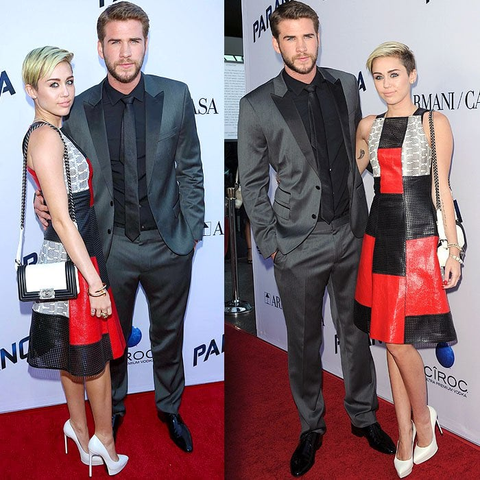 Miley Cyrus and fiancé Liam Hemsworth at the premiere of Relativity Media's 'Paranoia' at the DGA Theater in Los Angeles, California, on August 8, 2013