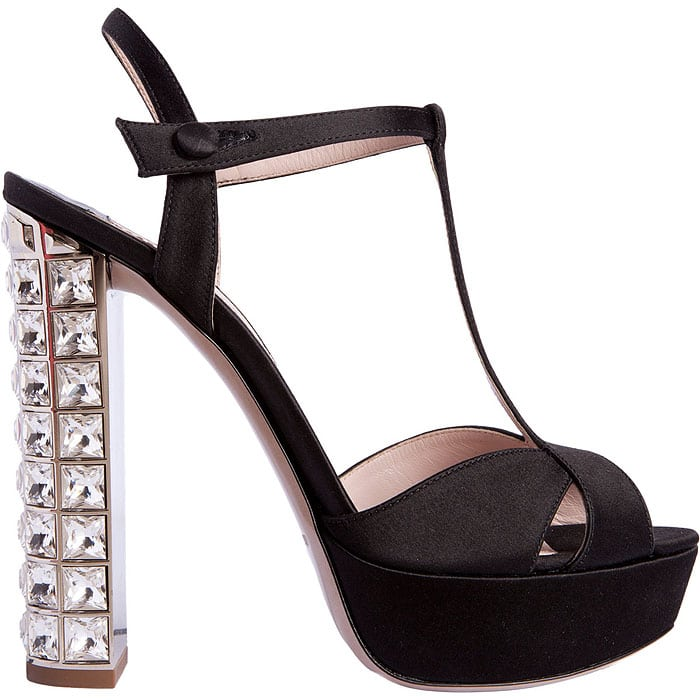 Miu Miu T-Strap Jeweled Heel Sandals