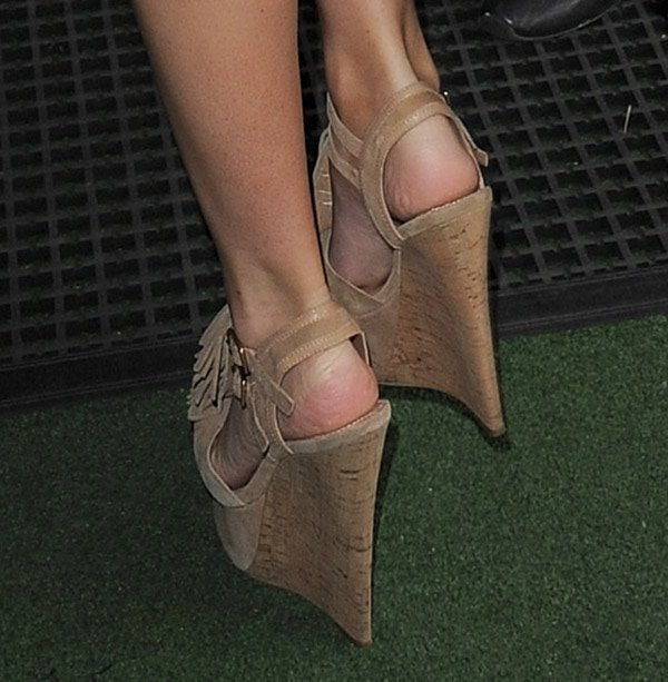 Mollie King's 6-inch cork wedge heels