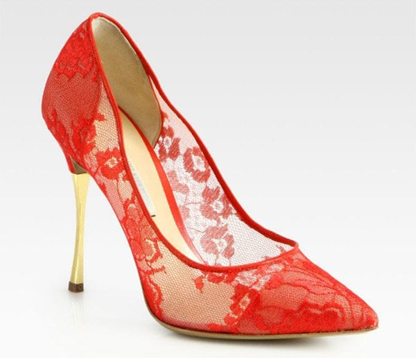 Nicholas Kirkwood Lace Pumps Red