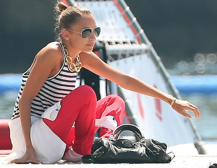 Nicole Richie sporting a masculine-feminine look while visiting Cap D'Antibes in the South of France on July 27, 2013