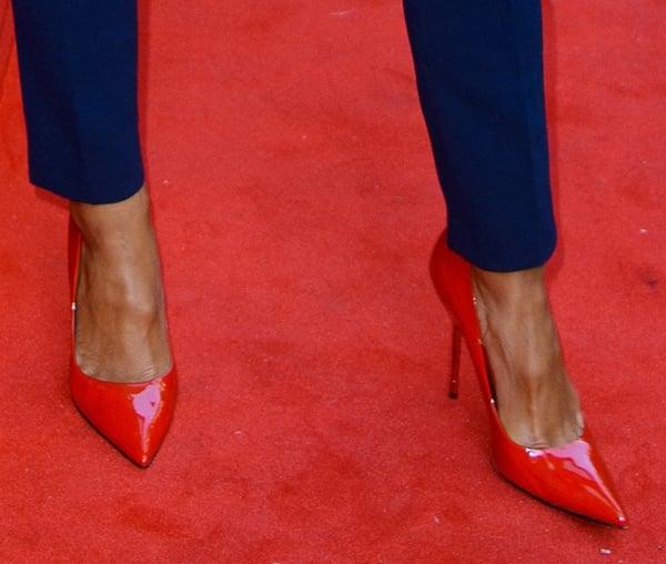 Nicole Scherzinger's sexy feet in red shoes from Kurt Geiger
