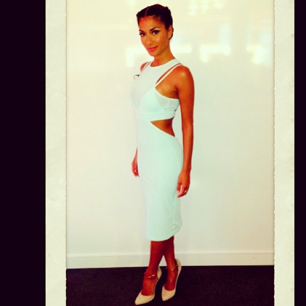 Nicole Scherzinger wearing a Bec and Bridge dress, Paperchain jewelry, and Richard Braqo shoes. Shared on Instagram on August 10, 2013