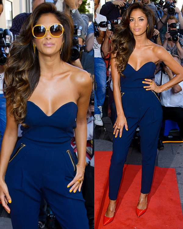 Nicole Scherzinger in a navy blue jumpsuit at The X Factor press launch