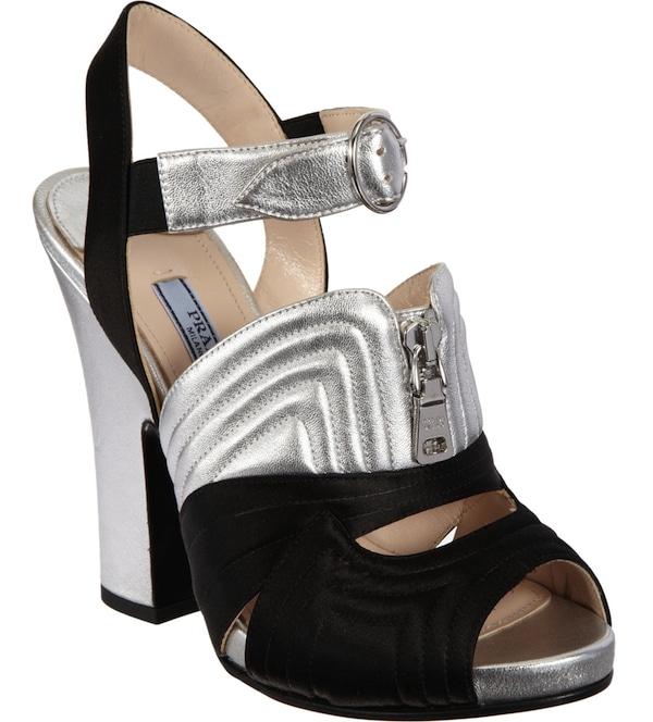 Prada Booties Silver Black