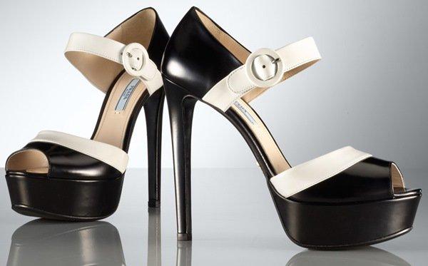 Prada Bicolor Platform Sandals in Black Leather
