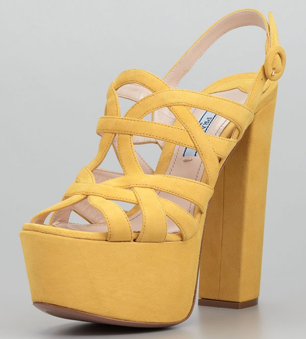 Prada Super Platform Suede Cage Slingback Sandals in Yellow