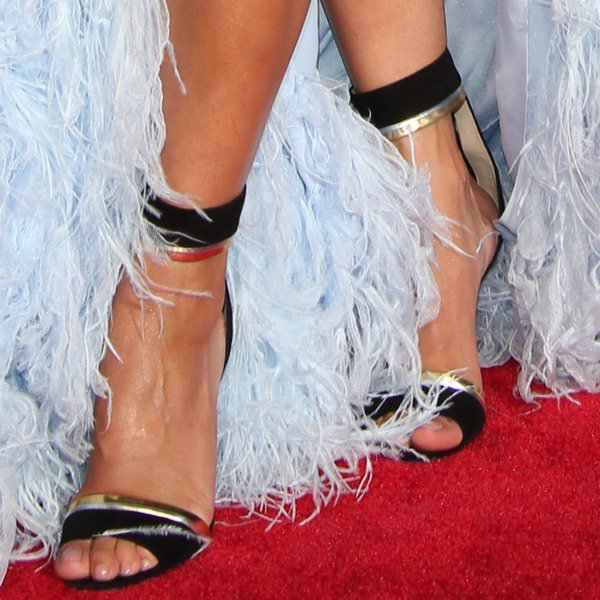 Rita Ora wearing Christian Louboutin for Alexandre Vauthier ankle-strap sandals