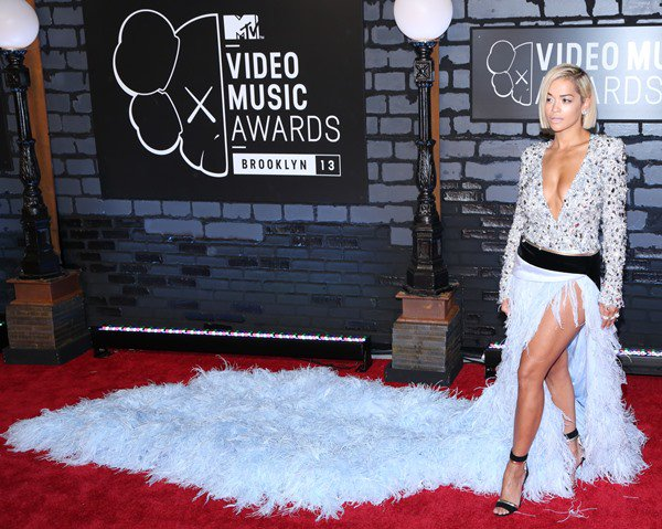 Rita Ora took the runway look from head to toe and paired the dress with Christian Louboutin for Alexandre Vauthier ankle-strap sandals