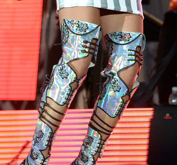 Rita Ora rocks hologram thigh-high stiletto boots