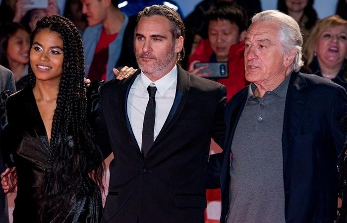 "Robert De Niro, Joaquin Phoenix, and Zazie Beetz attend the ""Joker"" premiere"