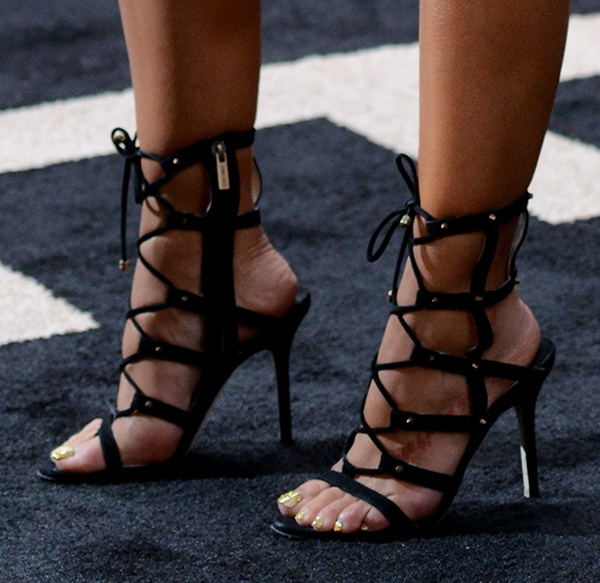 Rocsi Diaz rocked caged sandal booties by Jimmy Choo