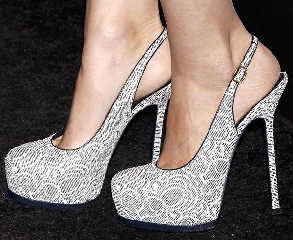 Rooney Mara's feet in patterned YSL pumps