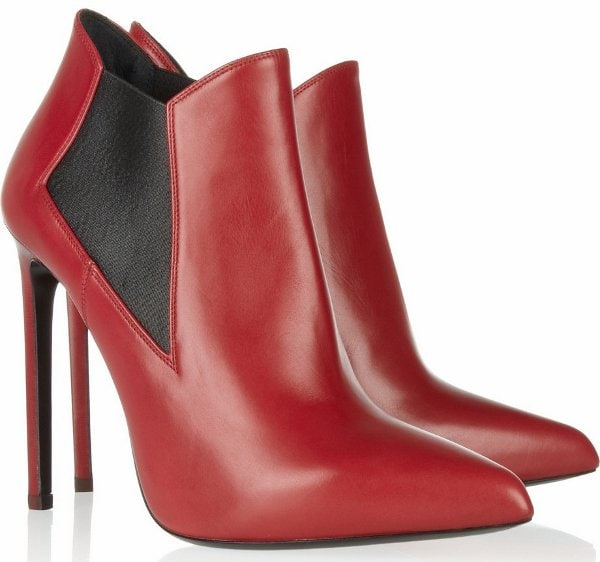 Red Saint Laurent Leather Ankle Boots