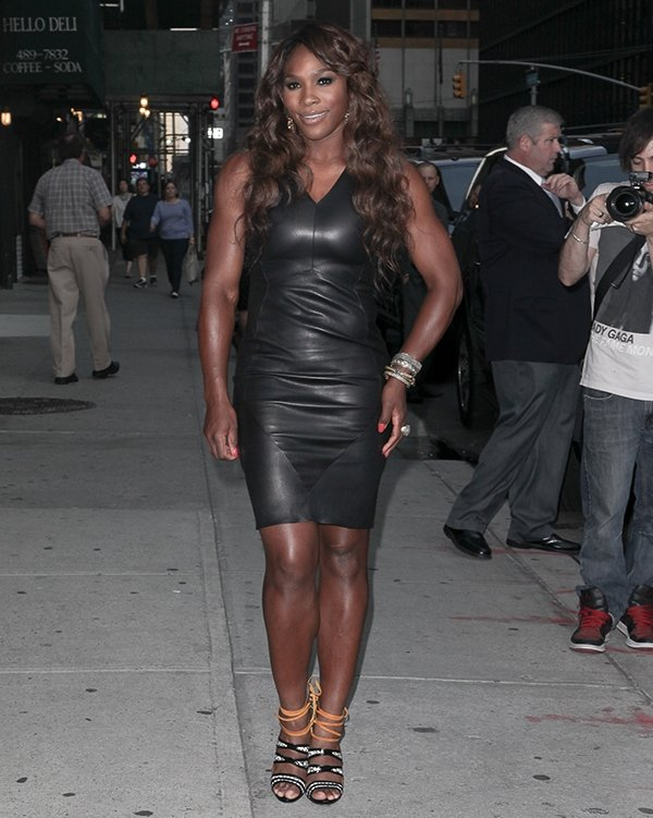 Serena Williams wearing a V-neck body-con dress by Narciso Rodriguez