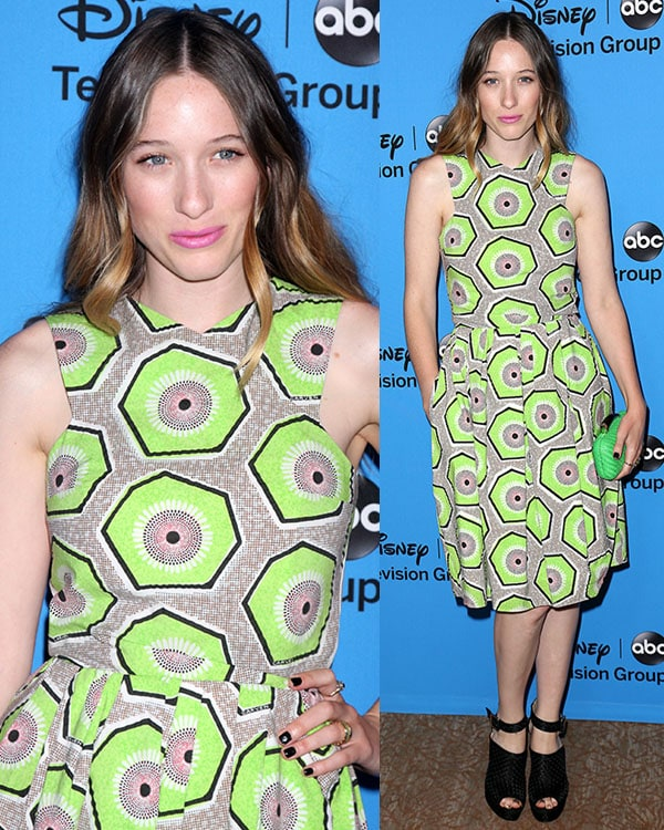 Sophie Lowe in a sleeveless printed Carven dress at the Disney & ABC TCA summer press tour held at The Beverly Hilton hotel in Beverly Hills on August 4, 2013