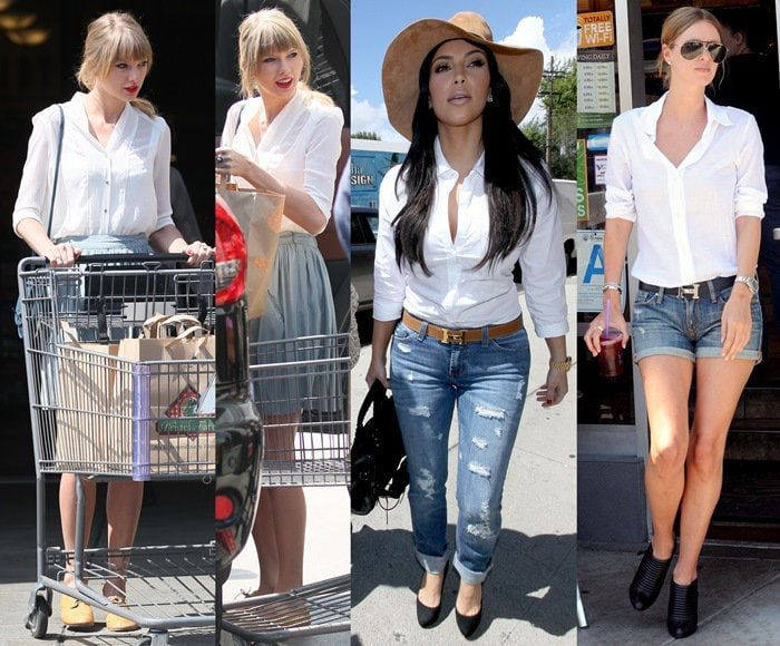 Taylor Swift, Kim Kardashian, and Nicky Hilton wearing white button-down shirts