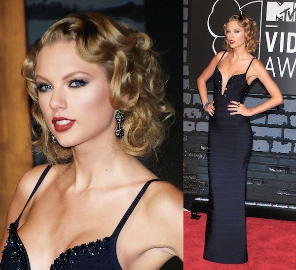 Taylor Swift looked vintage and classy in a long black Herve Ledger dress paired with Prada platform sandals