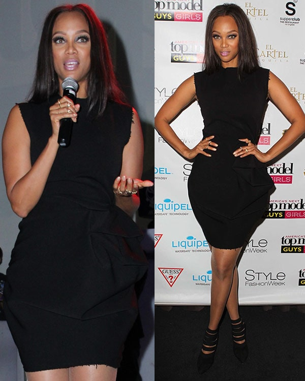 Tyra Banks Antm: Tyra Banks In Sexy LBD And Walter Steiger Banded Ankle Booties
