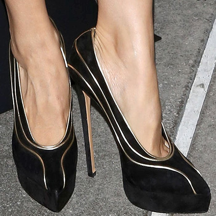 Zhang Ziyi's sexy feet in Casadei suede platform pumps with gold piping