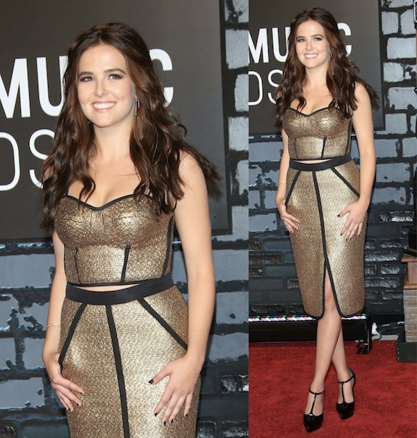 Zoey Deutch sparkled in a gold outfit consisting of a knee-length skirt