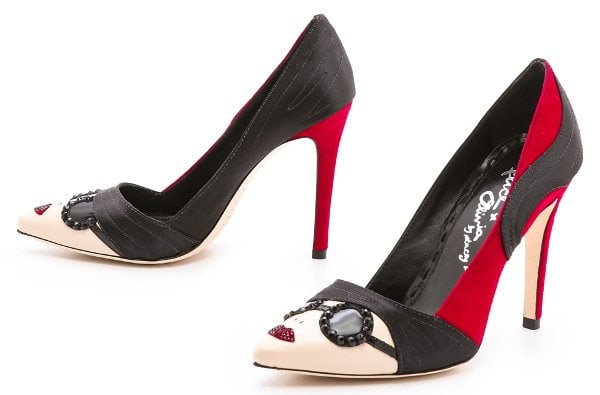 Founder Stacy Bendet lends her likeness to suede and satin alice + olivia pumps