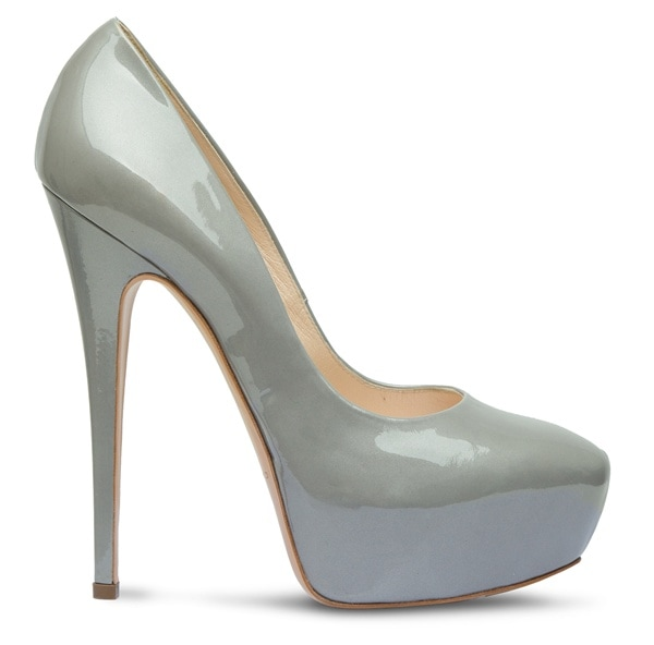 Casadei Patent Leather Platform Pumps in Gray