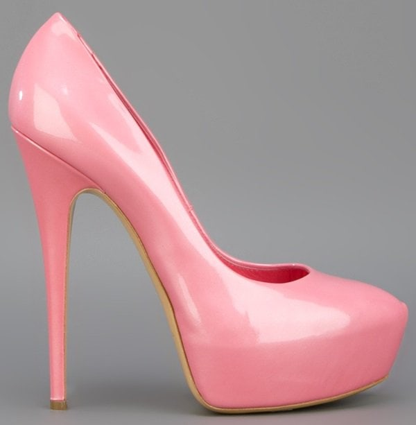 Casadei Patent Leather Platform Pumps in Pink