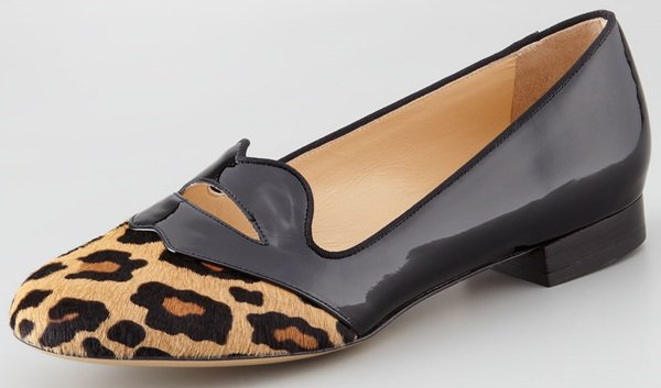 Charlotte Olympia 'Bisoux' Calf-Hair Lip-Detail Smoking Slippers