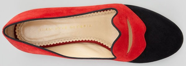 Charlotte Olympia 'Bisoux' Suede Lip-Detail Smoking Slippers