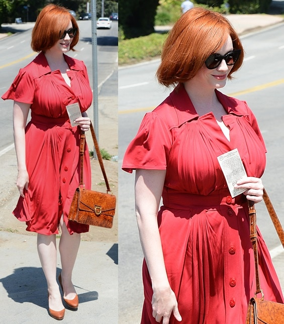 christina hendricks pumps brentwood party august 12