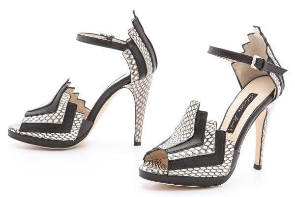 Chrissie Morris - La Roisin Snakeskin Sandals