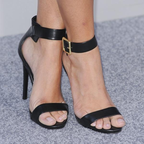"""Emily Osment's feet in Steve Madden """"Marlenee"""" sandals"""