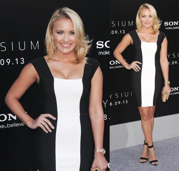 "Emily Osment in a form-fitting monochromatic dress at the world premiere of ""Elysium"""