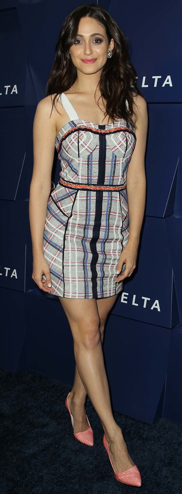 Emmy Rossum paraded her legs in a plaid Rebecca Minkoff dress