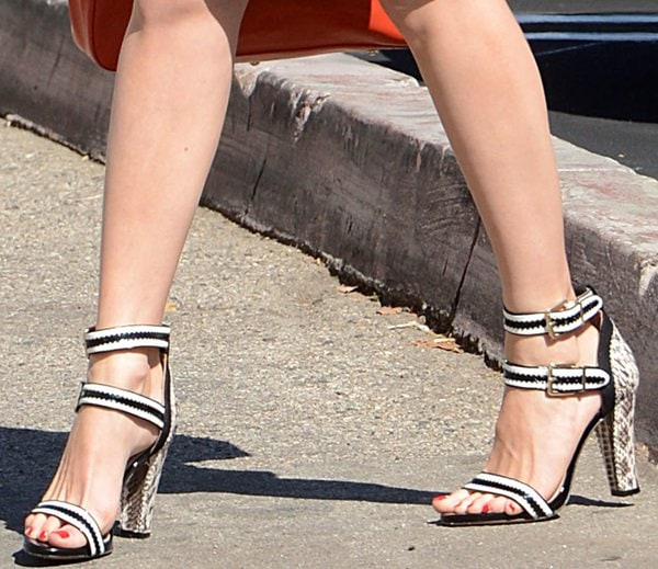 Emmy Rossum's sexy feet in double-ankle-strap heels