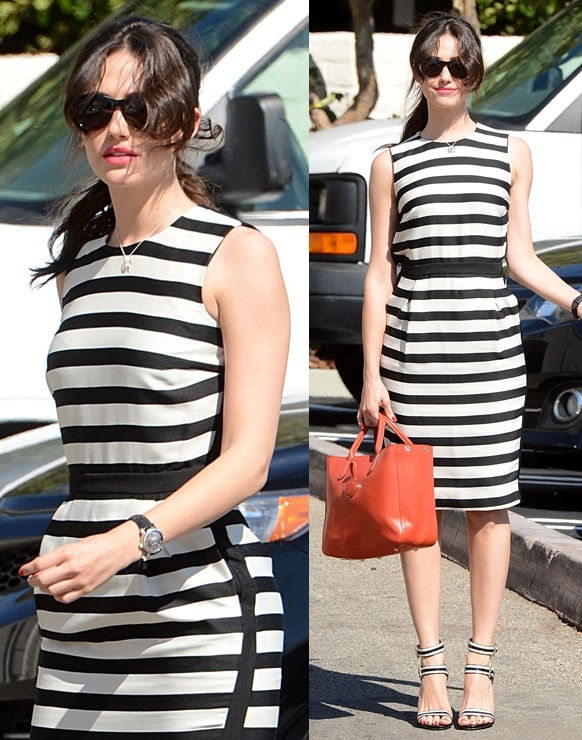 Emmy Rossum looking effortlessly chic in black-and-white stripes while running errands in Brentwood on August 8, 2013