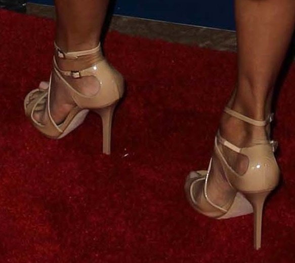 Eva Longoria wearing nude strappy sandals from Jimmy Choo
