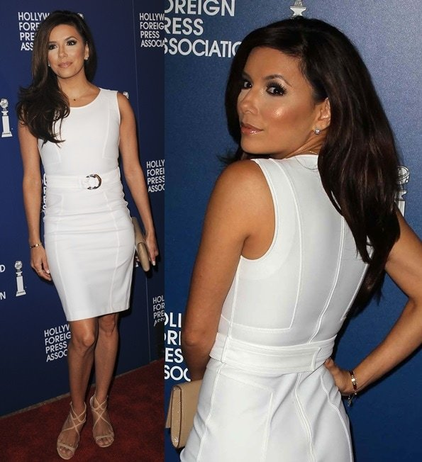Eva Longoria in a classic shift dress from Gucci with nude strappy sandals from Jimmy Choo for the Hollywood Foreign Press Association Installation Luncheon in Beverly Hills on August 13, 2013