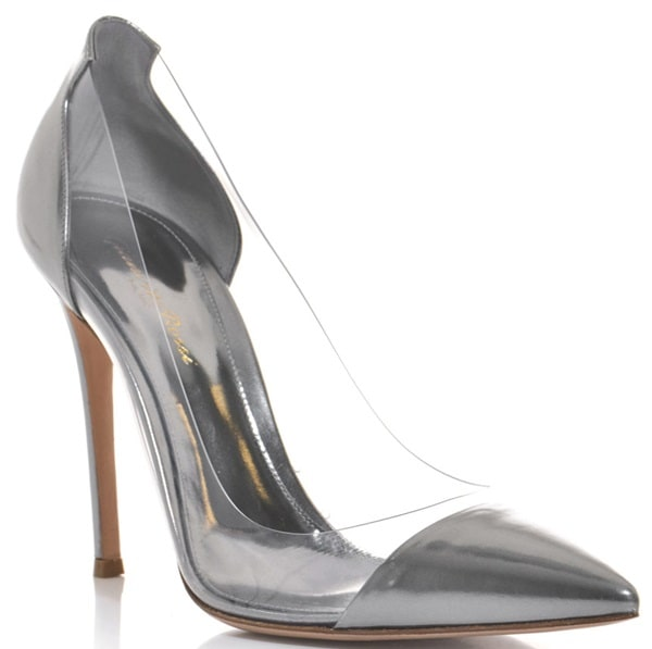 gianvito rossi patent and pvc pumps pewter