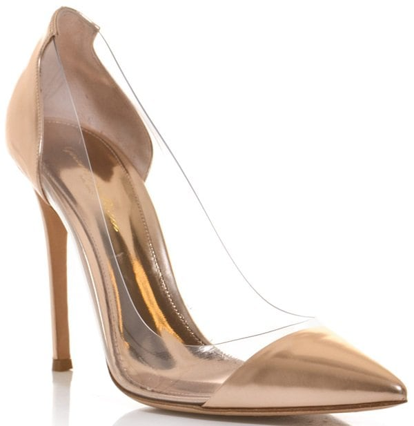 Gianvito Rossi Clear PVC and Metallic Leather Pumps in Rose Gold