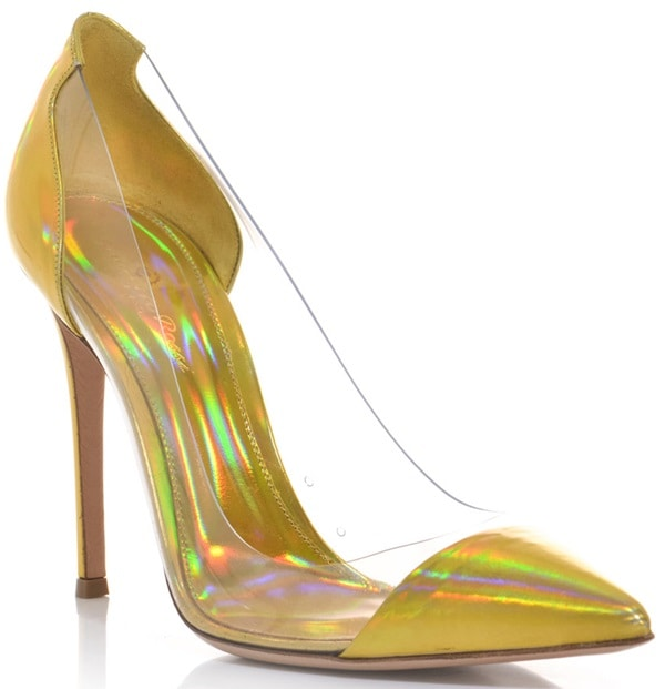 Gianvito Rossi Clear PVC and Metallic Leather Pumps in Yellow