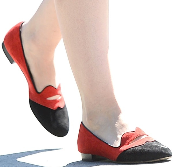 Ginnifer Goodwin wearing Charlotte Olympia 'Bisoux' smoking loafers featuring a cap toe and pouty, lip-shaped collar