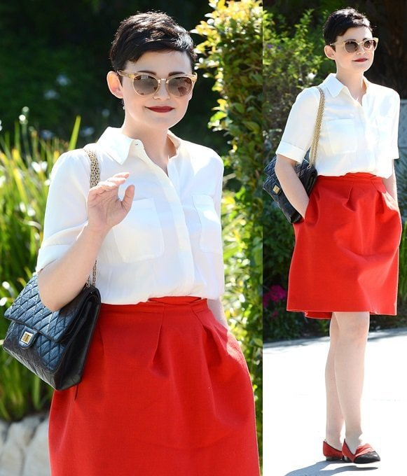 Ginnifer Goodwin color-coordinated in red, white, and black for a party in Brentwood, Los Angeles, on August 11, 2013