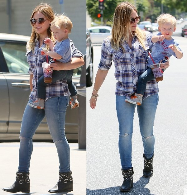 Hilary Duff was cowgirl chic in a plaid shirt with ripped jeans